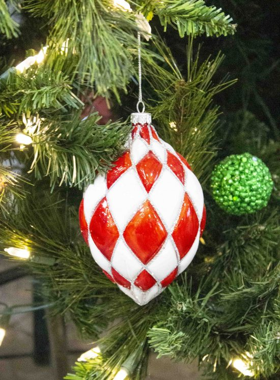 red and white egg shaped ornament