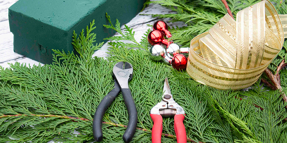 DIY Whoville Tree supplies - wire cutters, decorations, cedar, ribbons