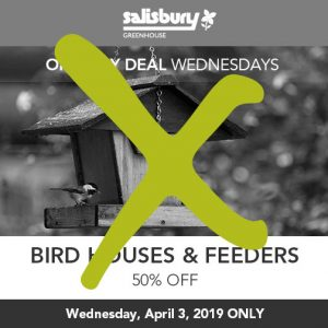 50% off bird houses and feeders sale finished