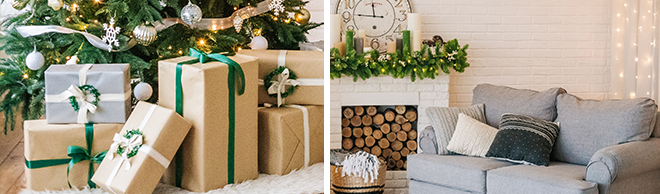 Christmas presents under the tree and holiday decor living room